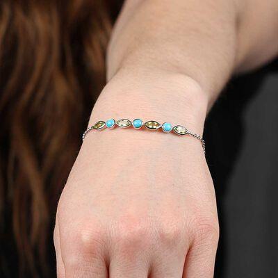 Lisa Bridge Turquoise & Peridot Bracelet