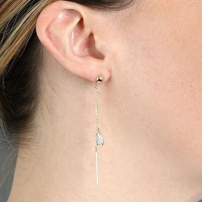 Diamond Pavé Pear & Gold Bar Drop Earrings 14K