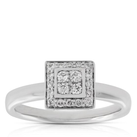 Diamond Square Ring 14K