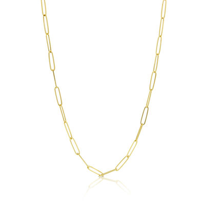 """Paperclip Chain Necklace 14K, 24"""""""