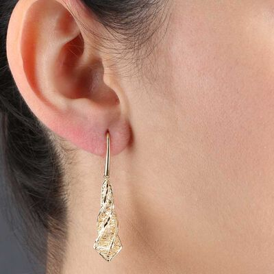 Toscano Microfusion Twisted Drop Earrings 14K