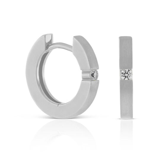 Diamond Huggie Hoop Earrings 14K