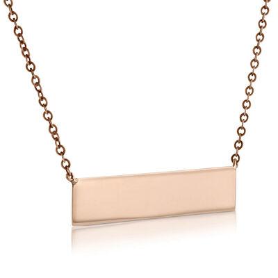 Rose Gold Engravable Bar Necklace 14K