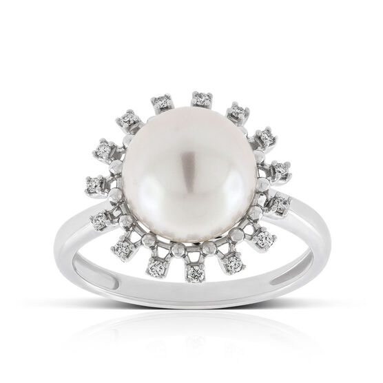 Cultured Freshwater Pearl & Diamond Halo Ring 14K