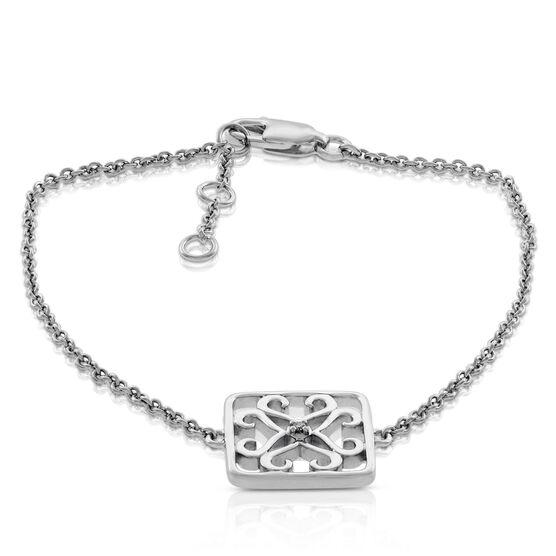 Diamond Square Bracelet in Sterling Silver