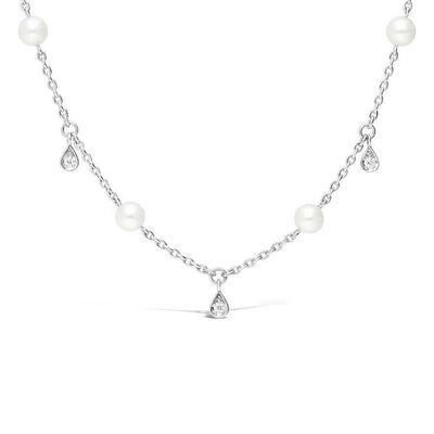Mikimoto Akoya Cultured Pearl & Diamond Teardrop Necklace 18K