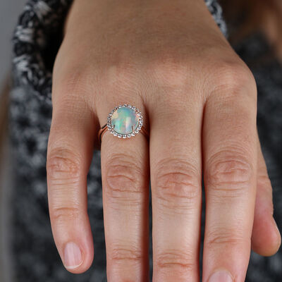 Rose Gold Oval Opal Ring 14K