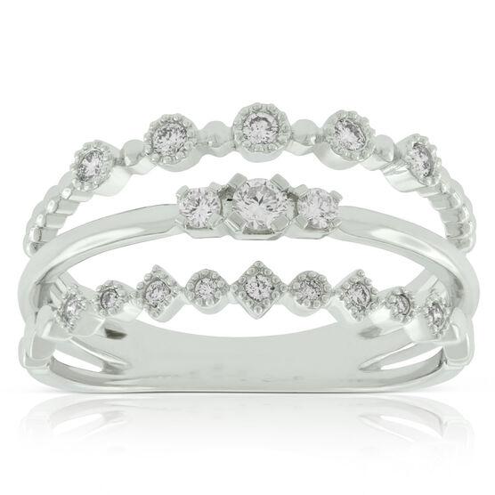 Three Band Stacked Diamond Ring 14K