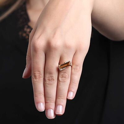 Tilted Rectangular Citrine & Diamond Ring 14K