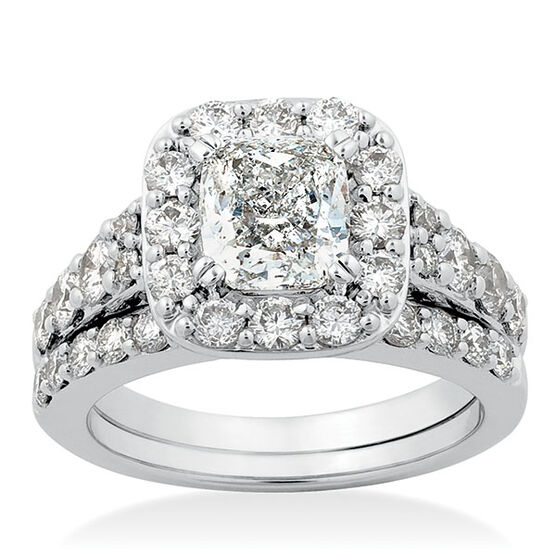 Cushion Cut Diamond Bridal Set 14K