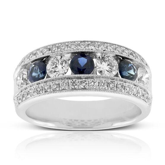 Sapphire & Diamond Beaded Band 14K
