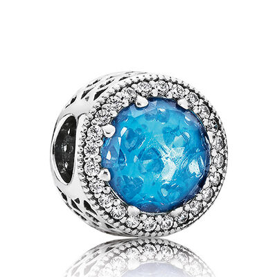 PANDORA Blue Radiant Hearts Charm