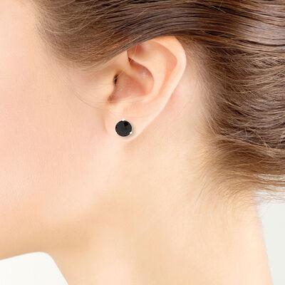 Checkered Garnet Earrings 14K, 8mm