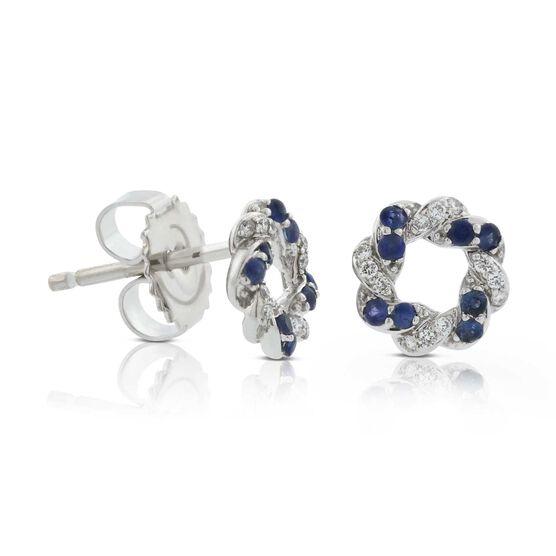 Sapphire & Diamond Swirl Knot Earrings 14K