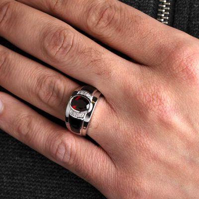 Garnet, Onyx & Diamond Men's Ring 14K