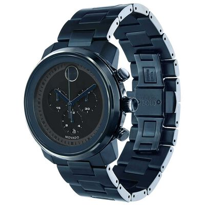 Movado Bold Ink Chronograph Blue Ion Watch