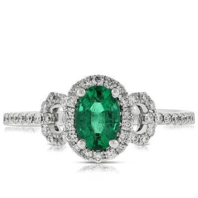 Oval Emerald & Diamond Ring 14K