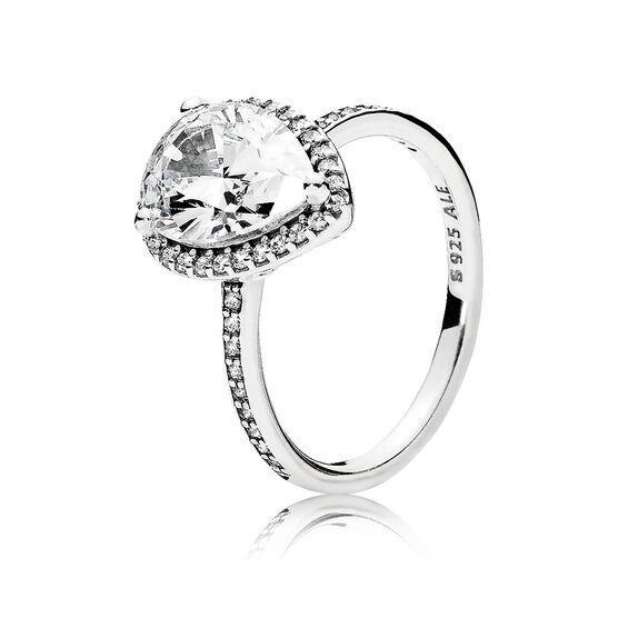 Pandora Sparkling Teardrop Halo CZ Ring
