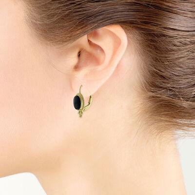 Oval Onyx Earrings 14K