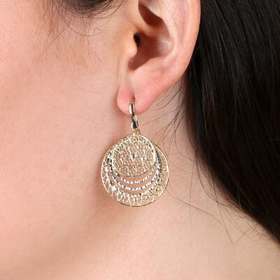 Toscano Double Round Filigree Earrings 14K