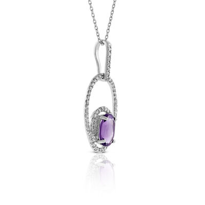 Oval Amethyst & Diamond Necklace 14K