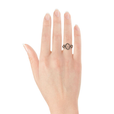 Rose Gold Interwoven Brown & White Diamond Ring 14K