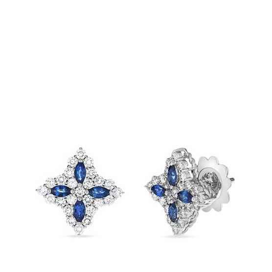 Roberto Coin Princess Medium Flower Sapphire & Diamond Stud Earrings 18K