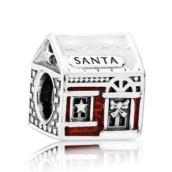 PANDORA Santa's Home Charm, White & Red Enamel