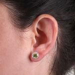 Sphene & Diamond Halo Earrings 14K
