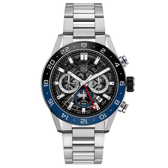 TAG Heuer Carrera Heuer 02 Automatic GMT Mens Black Steel Chronograph Watch