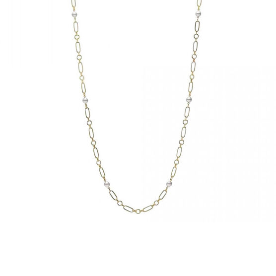 """Mikimoto Paperclip Chain Cultured Akoya Pearl Necklace 18K, 24"""""""