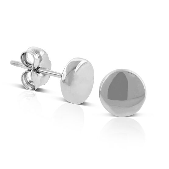 Flat Round Stud Earrings 14K