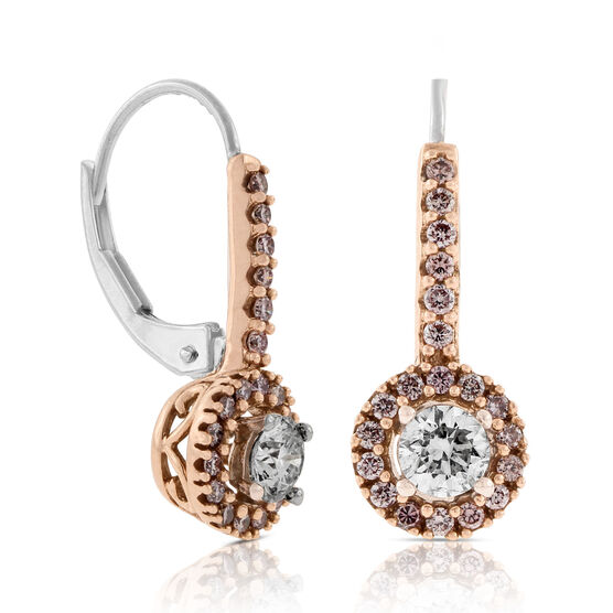 Pink & White Diamond Earrings 14K