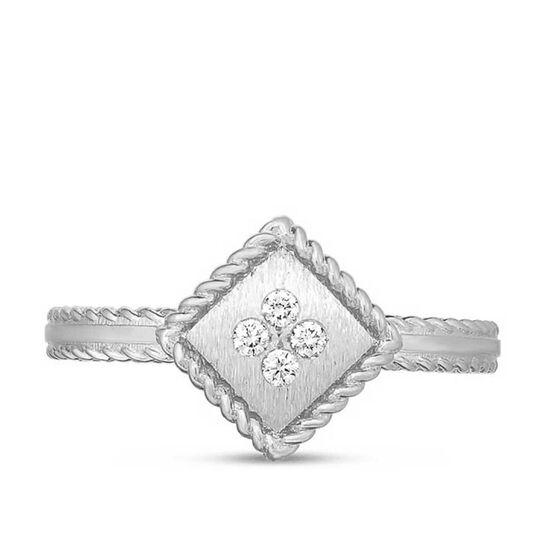 Roberto Coin Palazzo Ducale Single Square Diamond Ring 18K, Size 6.5