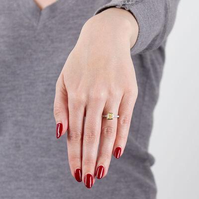 Yellow & White Diamond Engagement / Fashion Ring 18K