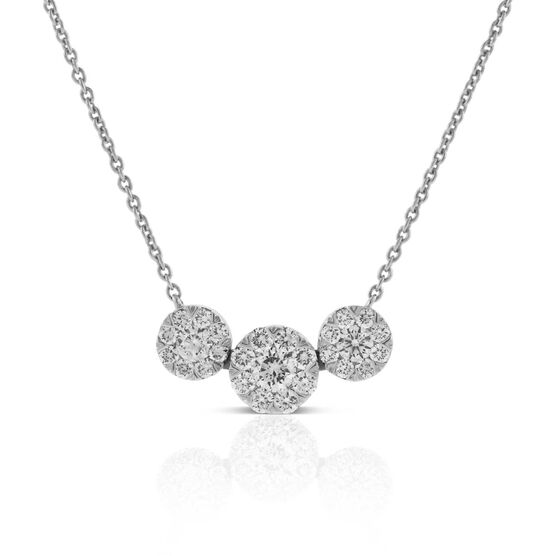 Three Circle Station Diamond Necklace 14K
