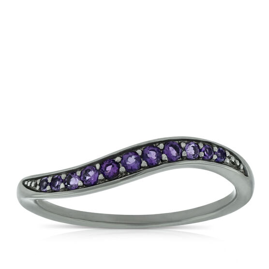 Lisa Bridge Amethyst Wave Ring in Sterling Silver, Size 6