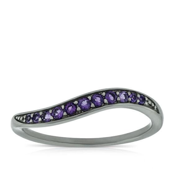 Lisa Bridge Amethyst Wave Ring in Sterling Silver, Size 5