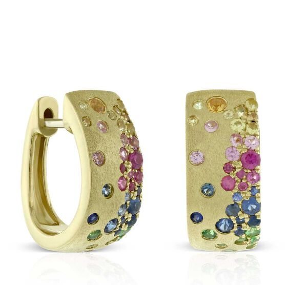 Rainbow Sapphire Hoop Earrings 14K