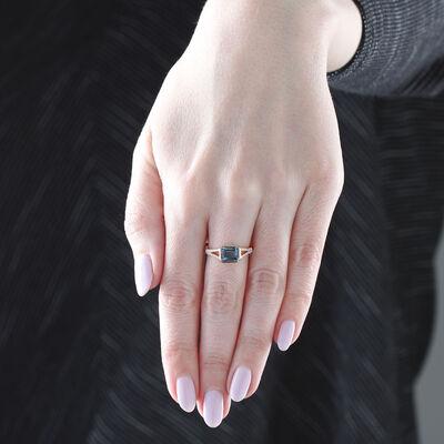 Rose Gold London Blue Topaz & Diamond Ring 14K