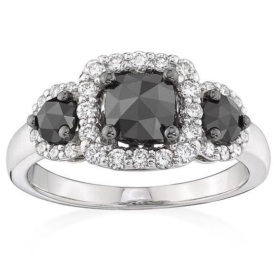 Black & White Diamond 3-Stone Ring 14K