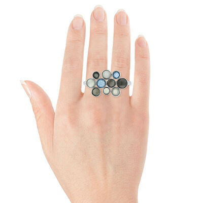 Lisa Bridge Moonstone & Chalcedony Bubbles Ring