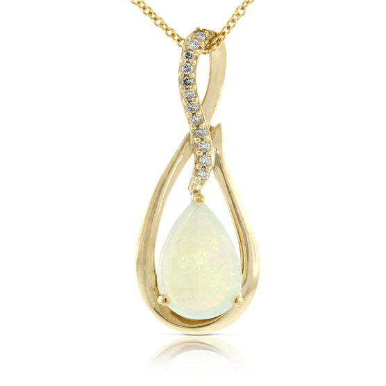 Opal & Diamond Pendant 14K