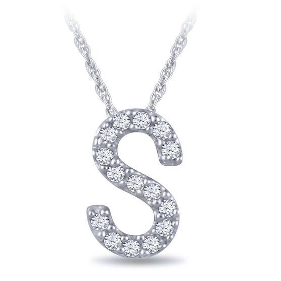 Diamond Initial Pendant 14K Letter 'S'