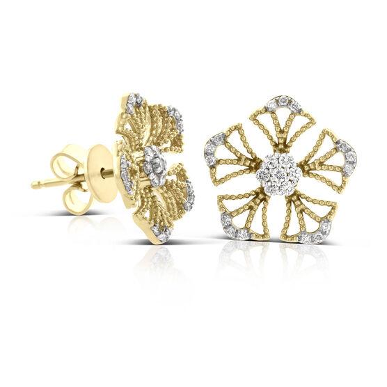 Floral Diamond Earrings 14K