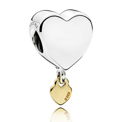Pandora Two Hearts Dangle Charm, Silver & 14K