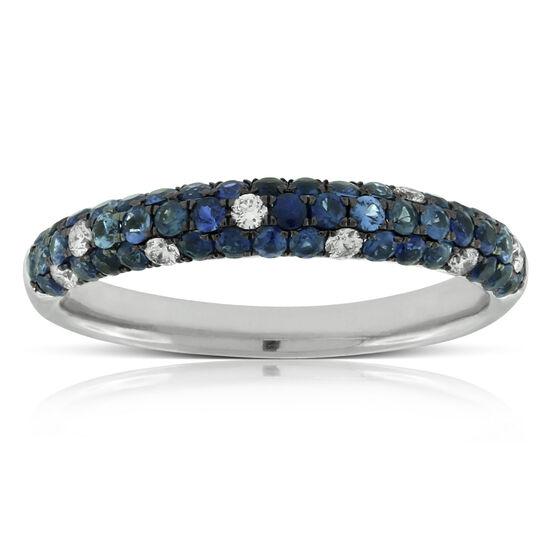 Blue Sapphire & Diamond Pavé Band 14K