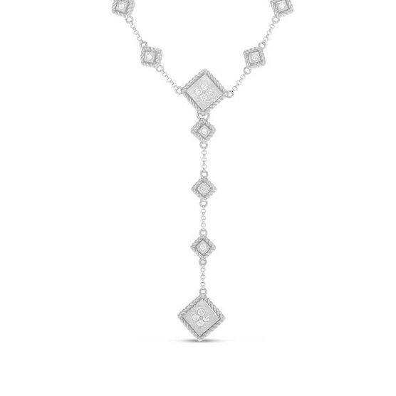 """Roberto Coin Palazzo Ducale Satin """"Y"""" Drop Diamond Necklace 18K"""