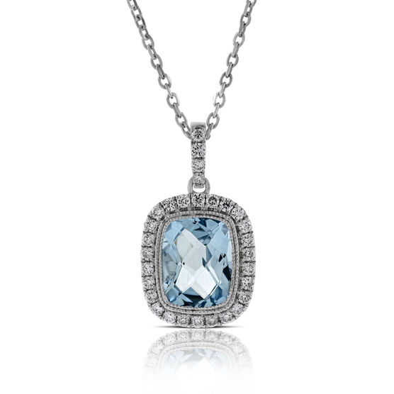 Cushion Aquamarine & Diamond Pendant 14K
