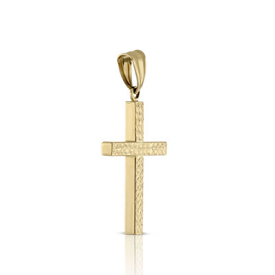 Square Tube Diamond Cut Cross 14K